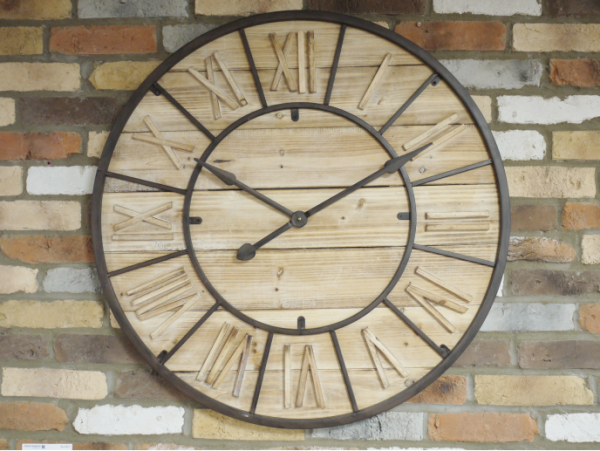 Large Industrial Wooden Clock