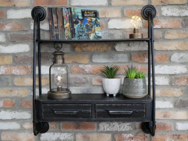 Industrial Wall Shelving with Drawers
