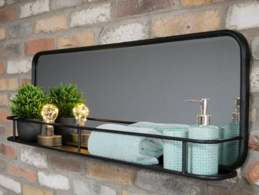 Industrial Mirror with Shelf