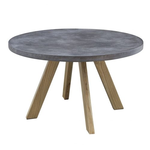 Round Dark Steel Top Dining Table