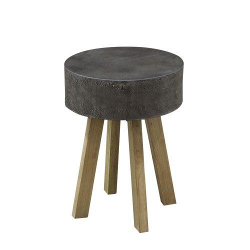 Round Dark Steel Top Lamp Table / Stool