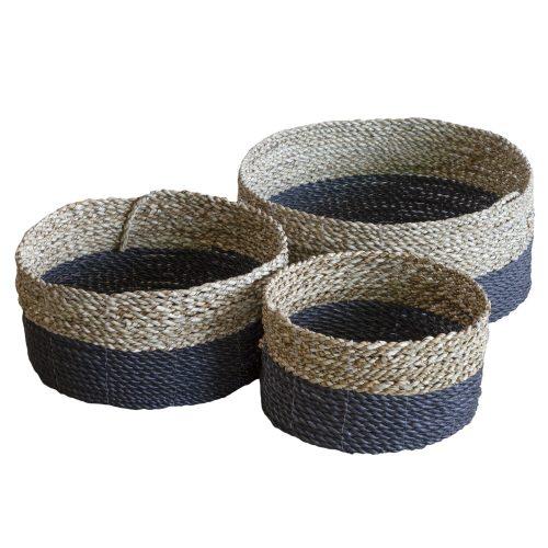 Set of 3 Charcoal & Natural Flat Tray Baskets