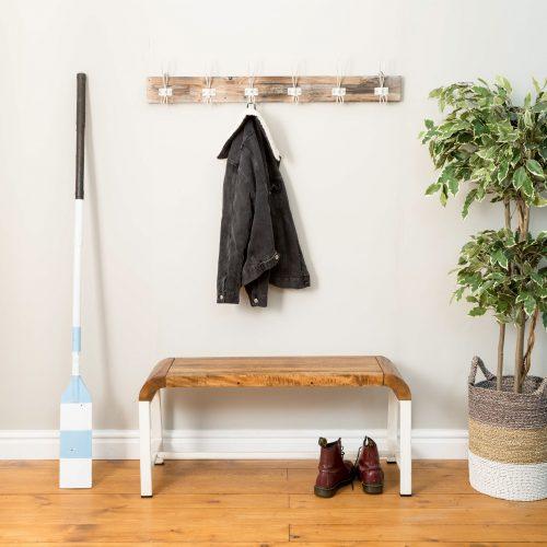 Re-Engineered Coat Hanger White on White wood 6 Hooks