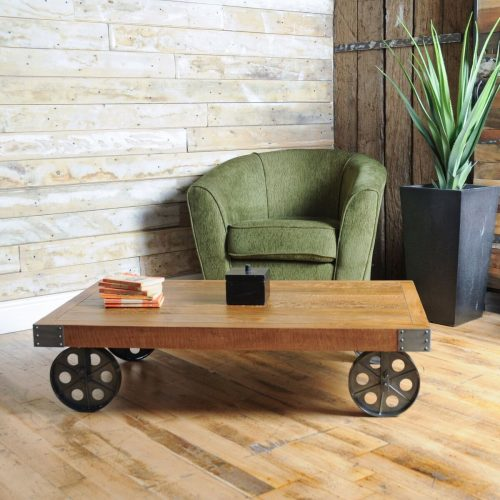 RE-Engineered Industrial Coffee table with Wheels