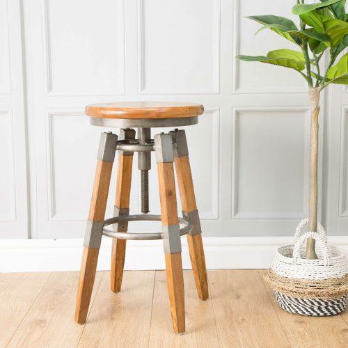 RE-Engineered Wood & Metal Square leg Swivel Stool