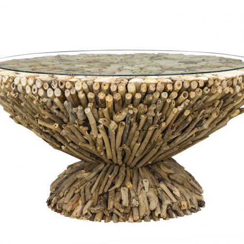 Driftwood Round Coffee Table w Glass Top