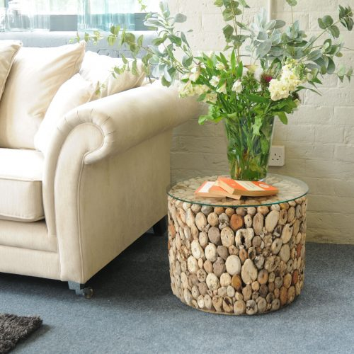 Driftwood  Drum Lamp Table w Glass Top