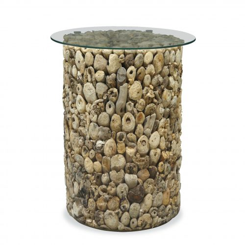 Driftwood Tall Lamp table with Glass Top