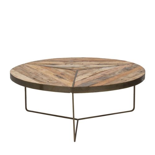 KLEO Boatwood Round Rustic Coffee Table Large