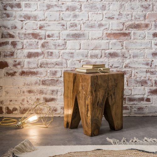 Square Stool / Side Table Natural wax