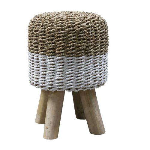 Stripy Round Basketweave Stool - Natural Top