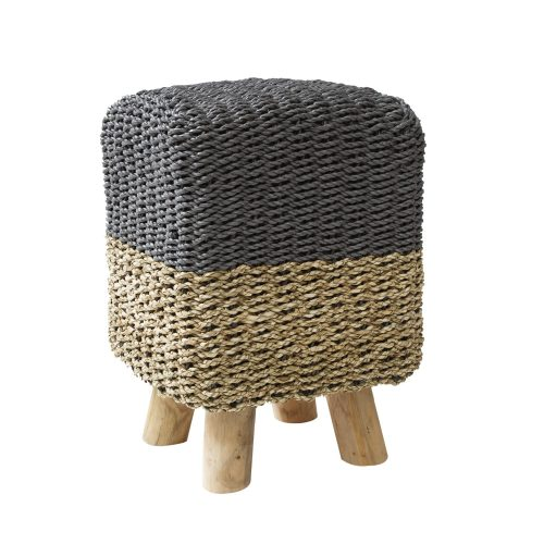 Stripy Square Basketweave Stool - Grey Top