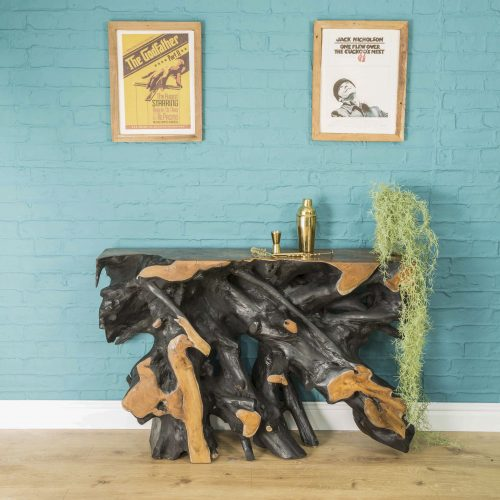 Natural Root Black Console Table