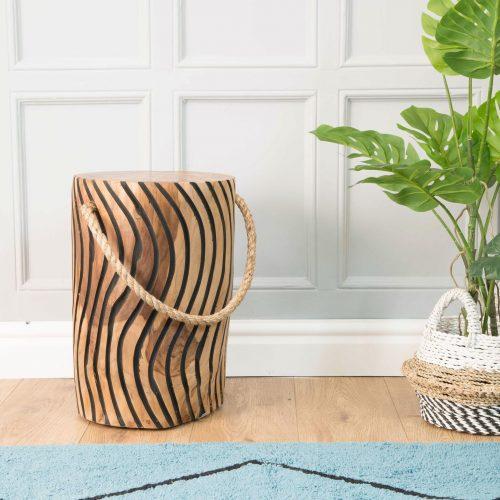 Natural Teak Root Tiger Stripe Stool with Rope