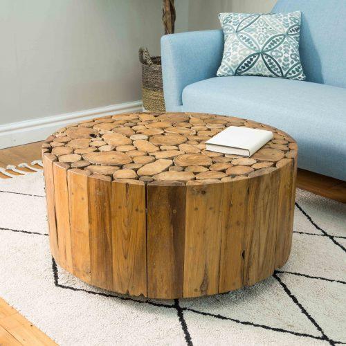 Natural Teak Root Disc Coffee Table on Wheels