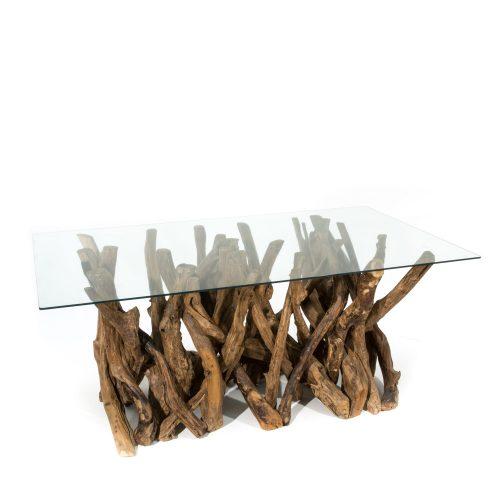Branchwood Teak Dining Table Glass Top