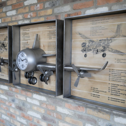 Aeroplane Wall Clock Decoration
