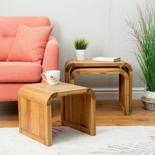 Lounge Oak Living Nest Of 3 Tables