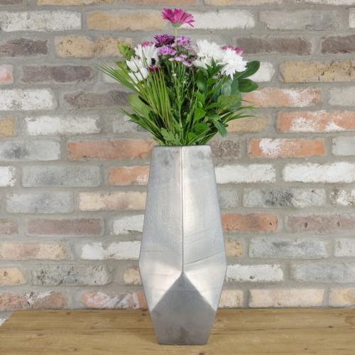 Large Silver Effect Vase