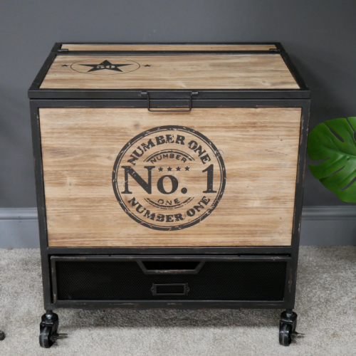 Number One Industrial Style Cabinet with Flip Top