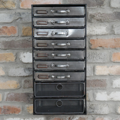 9 Drawer Industrial Wall Unit