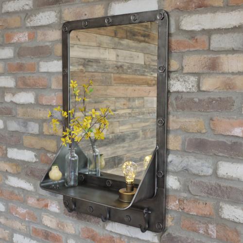 Mirror With Shelf & Hooks