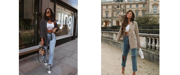 Mom jeans styled with a fitted top and oversized jacket