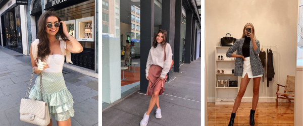 mini and mid length skirts outfits for summer / autumn brunch